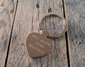 Engraved Heart Keyring - Key Chain - Key Ring - Personalised Gift - Any Name loves Grandad - Custom Gift - Engraving on the Back