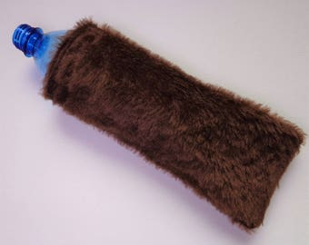 Dog Water Bottle Toy Cover Reusable Pet Noisemaker Faux Fur Brown Fetch Recycle