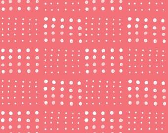 Skipping Stone Poplin - 100% GOTS Certified Organic Cotton - Organic - Fabric by the Yard - Sustainable  - Boho - Coral - Dots - Geometric