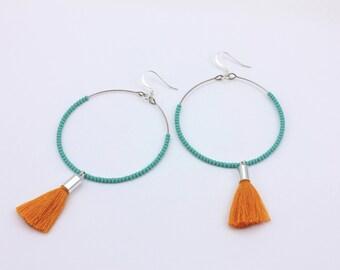 Boho Beaded Tassel Hoop Earrings, Handmade Jewelry by Detail London.