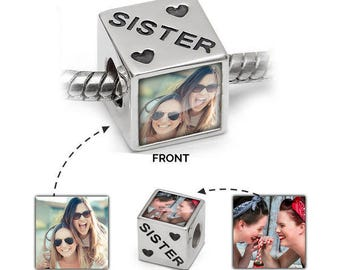 Sister Photo Charm | Personalised in 925 Silver | Pandora Bead Compatible - Personalised Jewellery for sisters and pandora bracelet lovers
