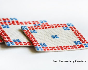 NEW - Hand embroidery Coasters (Set of 4 )