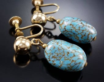 Vintage Turquoise Glass Earrings Robin's Egg Blue Nugget Drops Estate Jewelry