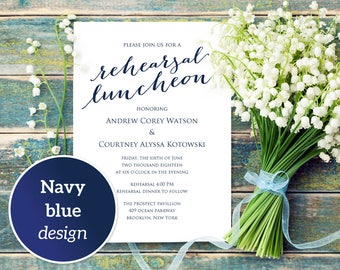 Rehearsal Luncheon Invitation Template, DIY Printing, Custom Personalized Lunch Invitation, Wedding Rehearsal Invitation Template