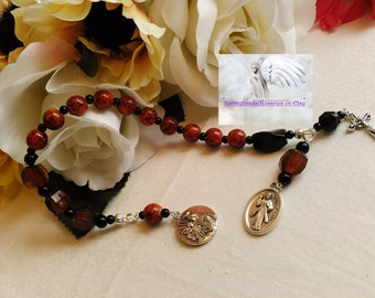 Divine Mercy Chaplet Dark Orange & Black Catholic Handmade One of a Kind Prayer Beads DMC#583