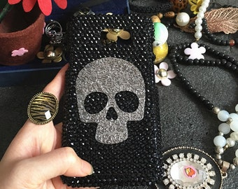 Charms Punk Metal Silver Skull Bling Lovely Fashion Sparkles Jewelled Crystals Rhinestones Diamonds Gems Hard Cover Case for Mobile Phone