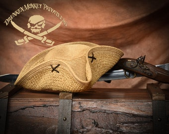 Straw Pirate Tricorn Hat, Pirate Hat, Straw Tricorn, Pirate Clothing