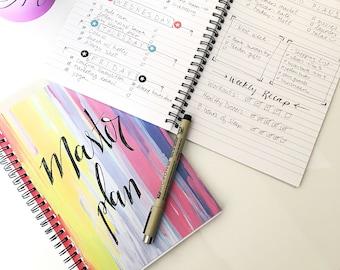 Notebook for her, lined notebook, health journal, writing journal, goal tracker, to do list, spiral notebook, desk accessory, bullet journal