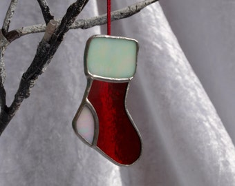 One, stunning stained glass Christmas stocking decoration