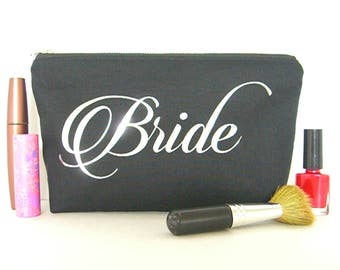 Bride Makeup Bag - Wedding Makeup Pouch - Bridal Gift - Bride Cosmetic Bag - Personalized Bride Bag - Bride Toiletry Bag - Bride To Be Gift
