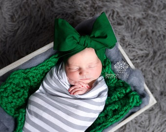 FOREST GREEN Gorgeous Wrap- headwrap; fabric head wrap; green head wrap; boho; newborn headband; baby headband; toddler headband