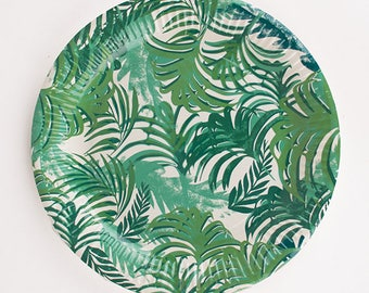 12 paper plates tropical leaves