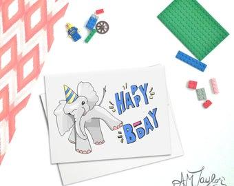 Elephant Birthday Card // Happy Birthday // Illustrated Birthday Card for All ages // Card for boy // Card for girl // Toddler Birthday