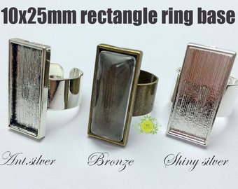 10x25mm Ring Cabochon Bezel-Adjustable Ring Base-Blank Ring Setting with 10x25mm Rectangle Bezel Setting-Blank rectangle ring Base-3 Color
