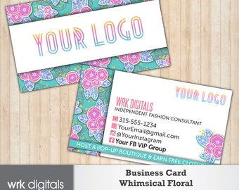 Whimsical Floral Business Cards, Double-Sided Customized Business Card, Fashion Consultant, Direct Sales, PRINTABLE
