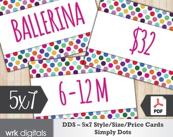 Dot Dot Smile Style Cards 5x7 Signs, Size Card, Price Sign, Fashion Consultant, Simply Dots Design, PRINTABLE, INSTANT DOWNLOAD