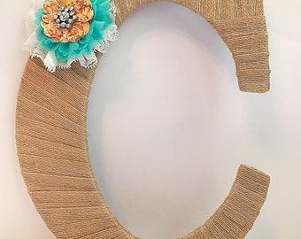 Burlap Letter, Spring Decor, Spring Wreath Initial, Initial Decor, Letter T, Decorative Letters, Country Home Decor