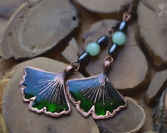 Steampunk Earrings Ginkgo leaf green Copper earrings Nature earrings epoxy and gears