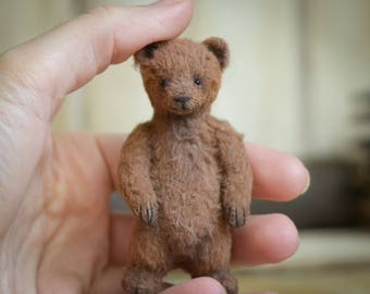 Artist Teddy Bear 3.2in OOAK nature minibear brown bear miniature by Matvienko