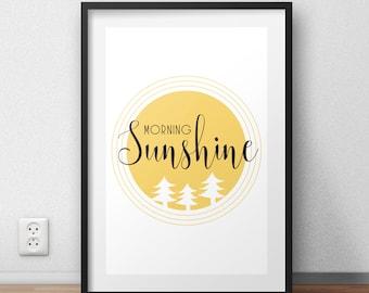 morning sunshine print, good morning print, home print, sunshine quote, black and yellow prints, inspirational quote, home decor, room decor