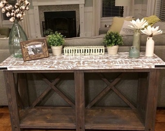 Console Wood Sofa Table with Distressed White bottom and Dark Walnut top finish