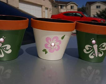 """Hand Painted 5"""" Flower Pots (set of 3)"""