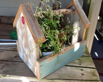 Vintage Style Wooden Tool Box - Barnwood Tote - Tool Caddy - Garden Tote