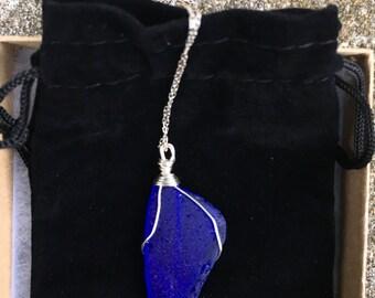 Bright Cobalt Blue Sea Glass Necklace