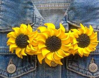 Sunflower necklace Flower bib necklace Statement necklace Floral necklace Yellow necklace Wedding necklace Bridal necklace Sunflower jewelry
