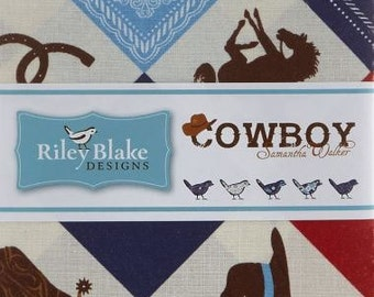 Riley Blake's Cowboy Theme Charm Pack 42 pc. Manufacturers Cut 5 inch Sqaures Cowboys Horses Boots and Hat Reds and Blues