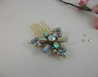 Vintage Bridal Hair Comb, Vintage Brooch, AB Crystal, Austrian Crystal, Vintage Wedding, Mother of the Bride, Bridesmaid