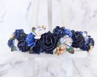 Navy royal blue (gold or silver berries) flower crown - wedding floral hair wreath - flower's girl headpiece - hair accessories - halo