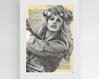 Lana Del Rey Art Handmade Designed Greeting Card w Gold Lined