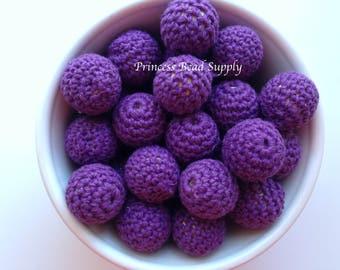 Dark Purple Crochet Wood Beads,  20mm Crochet Teething Beads, Dark Purple Crochet Beads, Natural Unfinished Wood Crochet Teething Beads