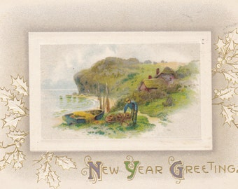 Happy New Year 1900's Vintage Victorian Collectible Postcard Paper Ephemera Embossed