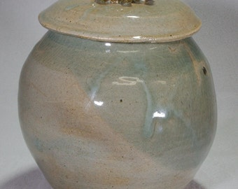 Large Gray-Blue-Green Wheel Thrown Stoneware Ceramic Lidded Jar with Flower Handle