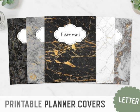 Planner Covers / Letter A4 / Marble Textures Spine Inserts