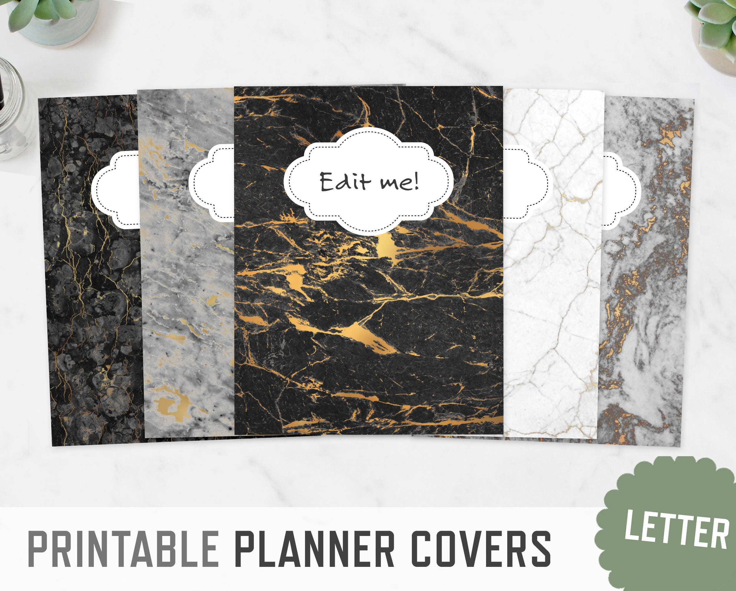 planner covers    letter a4    marble textures spine inserts
