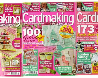 Cardmaking & Papercraft Magazine Lot of 3 – UK Card Crafting – January 2012 April 2012 August 2012 Stamping Bonus Papers
