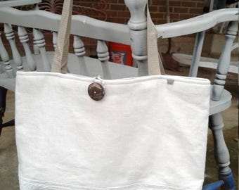 Off White Linen Cotton Tote Bag, Market Tote, 18w x 13h x 3d, Off White Travel Bag, LInen Bag, Linen Purse, Linen Pocketbook, Linen Resort