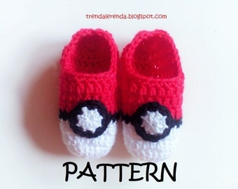 PDF immediate download with videotutorial. Pokemon Go Patches Crochet Pattern, pokeball design, in Spanish and English. Step-by-step shoes.