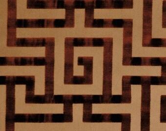 CLARENCE HOUSE LABYRINTH Geometric Silk Cut Velvet Fabric 10 Yards Antique