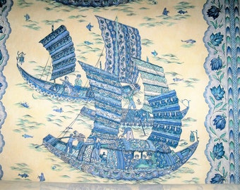 BRUNSCHWIG & FILS FORTUNATE Harbor Sailing Ships Toile Fabric 10 Yards Blue Cream Aqua Green