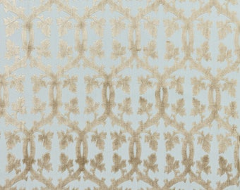 SCALAMANDRE FALK MANOR House Trellis Cut Velvet Fabric 10 Yards Mineral