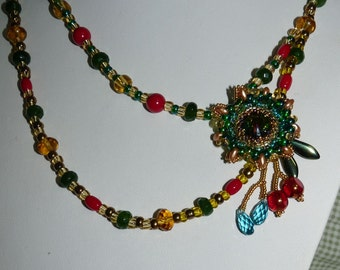 Flower Beaded  Swarovski Necklace. Red & Green Necklace. Lovely gift