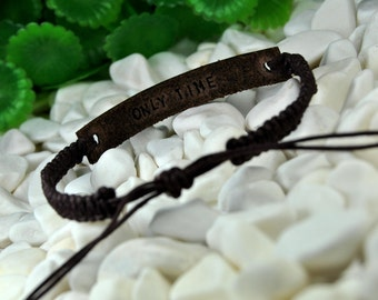 SPECIAL PRICE - Personalized Leather and Macrame Bracelet, Dark Brown Leather, Women Bracelet, Men Bracelet, Hidden Message, Macrame Jewelry