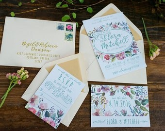 Wedding Invitation Set, watercolor flowers, spring, floral, colorful, teal, PDF