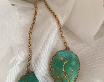 HOLD FOR MOLLIEgold antique carved turquoise earrings eco luxury dangle earrings statement jewelry
