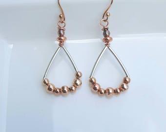 Rose gold beaded drop earrings