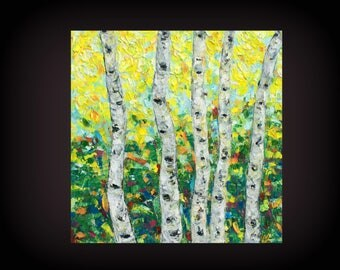"Fall birch painting Original Impasto birch trees painting, Autumn Birch Trees,10x10"", HaAiArt, Birch Art, Home decor coloful, Tree Art"